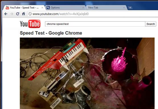 Google Chrome speet test