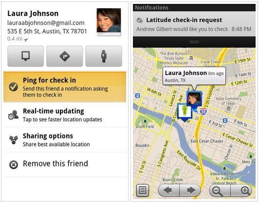 Google Maps 5.2 ~ Ping friends in Latitude