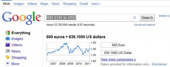 Google quick currency conversion