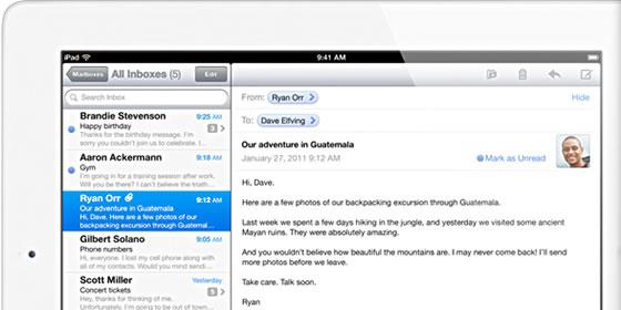 iPad 2 Mail app
