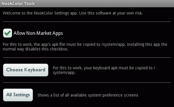 Nook Color ~ Amazon Appstore ~ Allow non-market apps