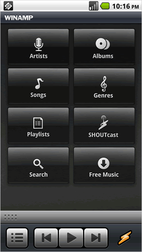 Winamp redesigned home screen