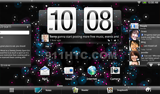 HTC Puccini running Android 3.0.1 with Sense on a 1.5GHz dual core processor