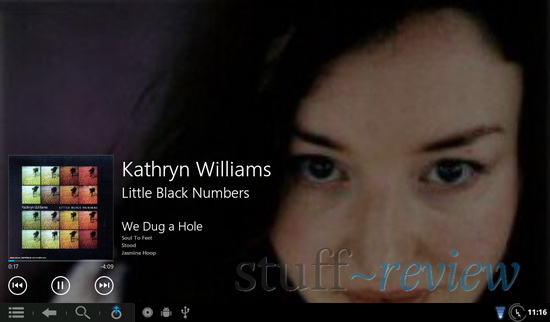 Zune/WP7 styled music player running on Nook Color - Now playing