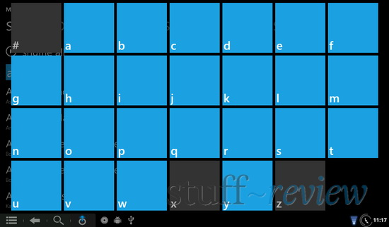 Zune/WP7 styled music player running on Nook Color - Jump by letter