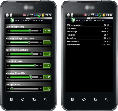 MSI Afterburner graphics card overclocking and monitoring Android app
