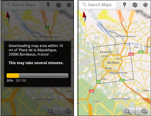 Google Maps 5.7 for Android - Download map area
