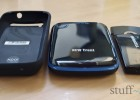 External battery roundup review: from left to right, PowerSkin, New Trent and Duracel