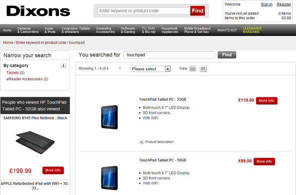 HP Touchpad fire sale Dixons