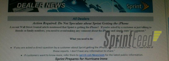 Sprint notice to employees about upcoming iPhone 5