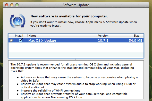 Mac OS X Lion update to v.10.7.1
