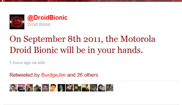 Motorola Droid Bionic coming September 8th