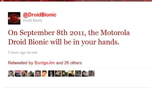 Motorola Droid Bionic coming September 8th