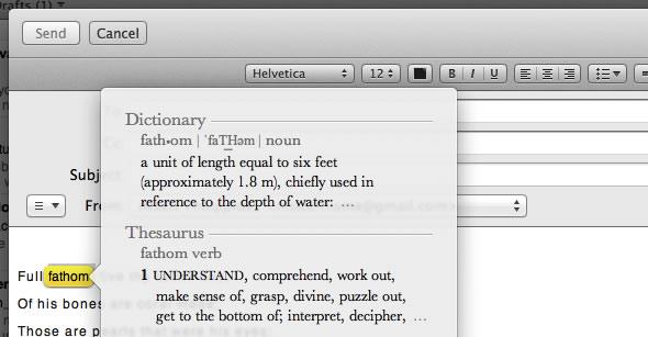 Mac OS X Lion Dictionary look up