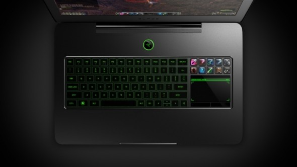 Razer Blade gaming laptop backlit keyboard and LCD touchpad