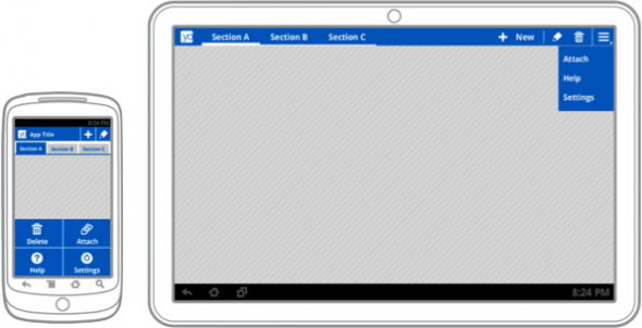 Actionbar phone and tablet on Android Ice Cream Sandwich