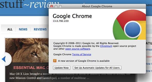 Google Chrome update with compatibility for Mac OS X Lion