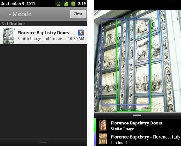 Google Goggles for Android v.1.2 background searching