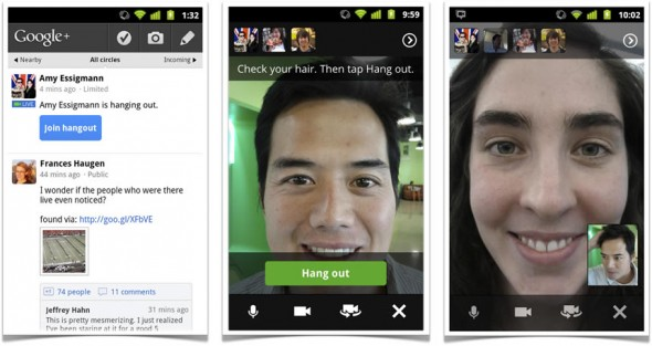 Google+ Hangouts video chat for smartphones