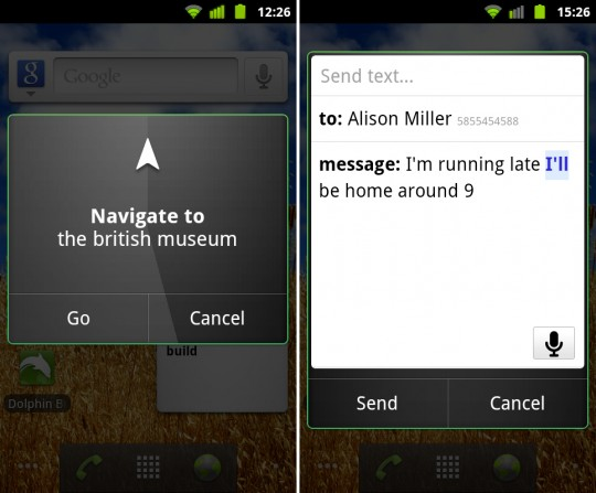 Google Voice Search for Android, European Voice Actions