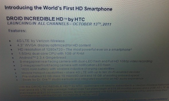 HTC DROID Incredible HD Verizon release roadmap