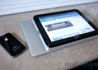 MacBook Air 2011 11-inch with iPad 2, HP TouchPad and iPhone 4 size comparison, top