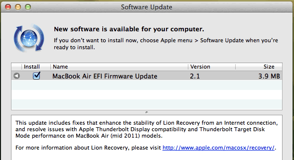 MacBook Air (mid-2011) EFI firmware update 2.1
