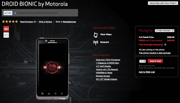 Motorola Droid Bionic on Verizon launch