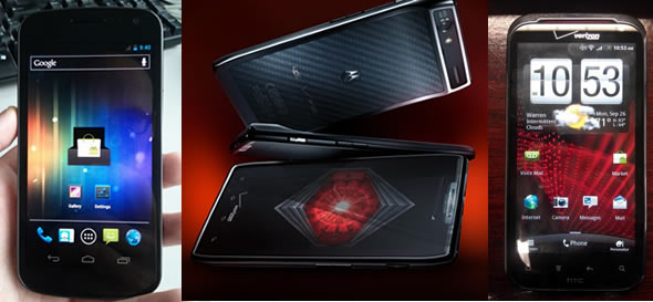 Android flagship phones: Galaxy Nexus (Prime), Motorola Droid RAZR (Spyder) and HTC Vigor (Rezound)