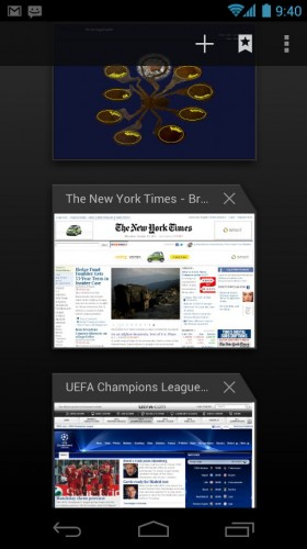 Android Ice Cream Sandwich: Browser tabs