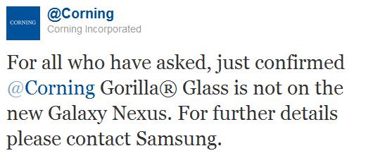 Corning tweet on Gorilla Glass for Galaxy Nexus