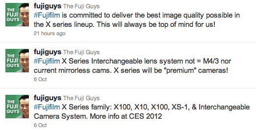 Fujiguys tweet on upcoming Fuji X-series interchangeable lens system