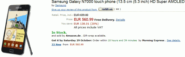 Galaxy Note in-stock from Amazon Germany