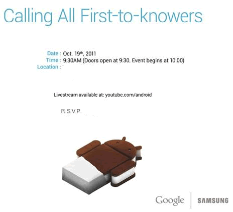 Google and Samsung Android 4.0 Ice Cream Sandwich event invite