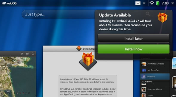 HP TouchPad webOS software update 3.0.4