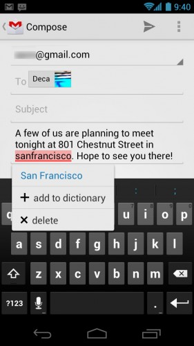 Android Ice Cream Sandwich: Keyboard text replace