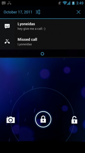 Android Ice Cream Sandwich: Lockscreen notification bar