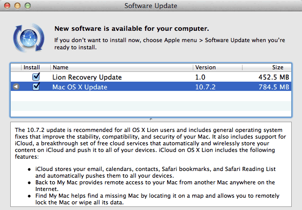 Mac OS X Lion 10.7.2 update