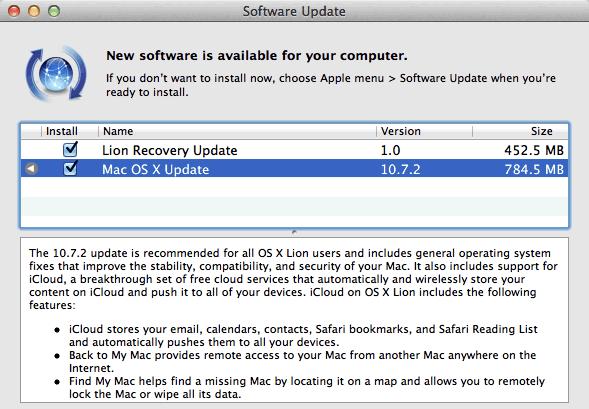 Mac OS X Lion 10.7.2 update
