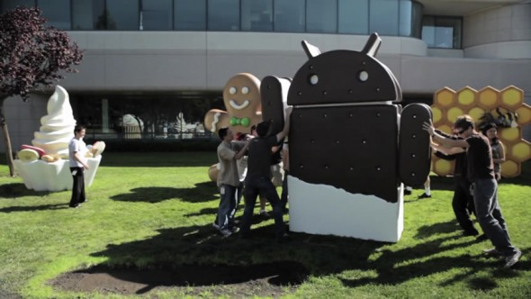 Google employee putting up the Android Ice Cream Sandwich mascot