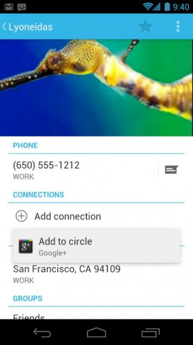 Android Ice Cream Sandwich: Contact
