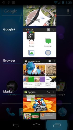 Android Ice Cream Sandwich: Recent apps, multitasking