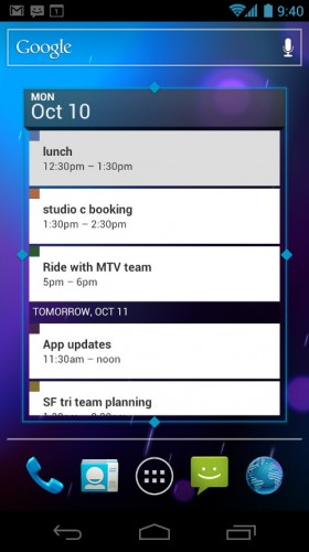 Android Ice Cream Sandwich: Resizable calendar widget