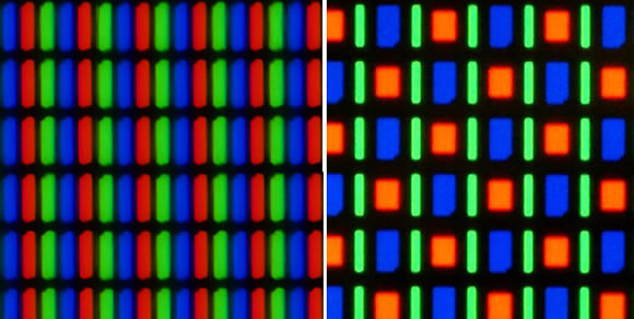 RGB LCD subpixel arrangement (left) vs. Samsung's RGBG PenTile Matrix subpixel arrangement (right)