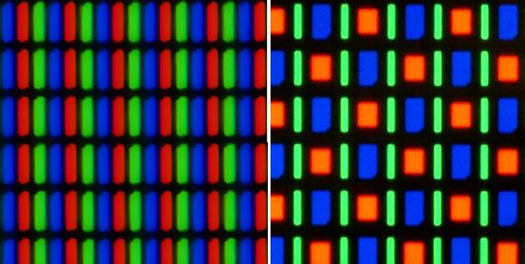 RGB LCD subpixel arrangement (left) vs. Samsung's RGBG PenTile Matrix subpixel arrangement (right)