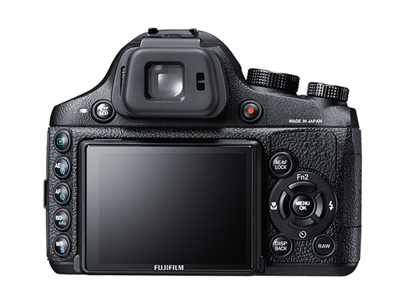 Fujifilm X-S1 rear - EVF, tiltable 3-inch LCD screen and controls