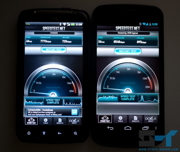 Galaxy Nexus (right) color accuracy
