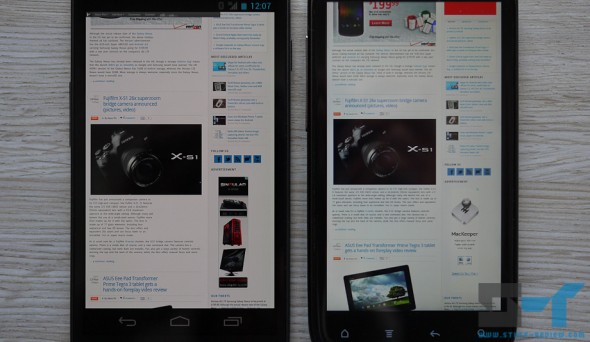 Galaxy Nexus (left) screen has a yellow tint