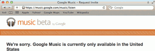 Google Music outside the US sign-up