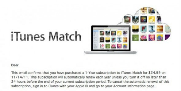iTunes Match subscription email